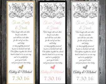 Lace and Burlap Rustic Theme 100 Wedding personalized and printed Bookmarks Favor