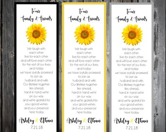 100 Sunflower Wedding Bookmarks Favor