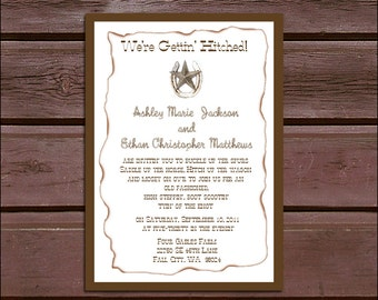 100 Western Country Rustic Wedding Invitations, RSVP's, Reception Insert w/ FREE Calendar Stickers