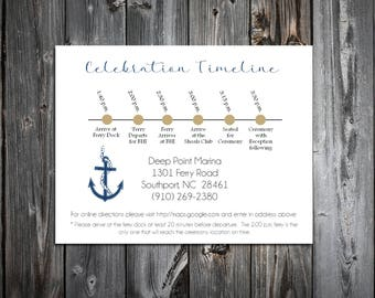 100 Nautical Beach Anchor Wedding Timeline to include with your Wedding Invitations. Includes printing
