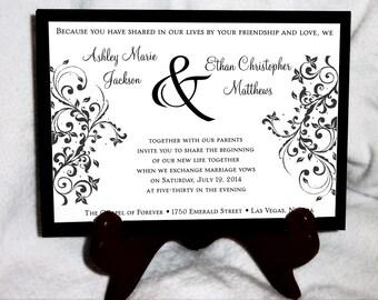 50 Damask Swirl Wedding Invitations, RSVP's, Reception Insert w/ FREE Calendar Stickers