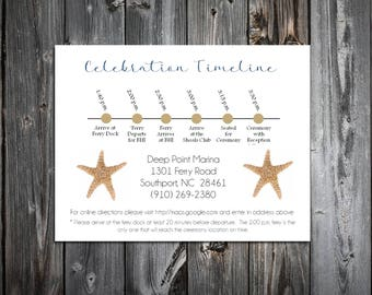 100 Beach Starfish Timeline to include with your Wedding Invitations. Includes printing