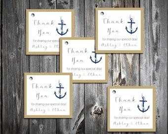 75 Nautical Beach Anchor Favor Tags.  Wedding favors