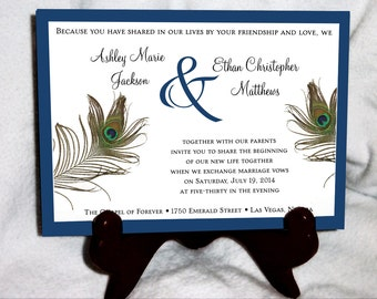Peacock Feathers Wedding Invitations, RSVP's, Reception Inserts with FREE Calendar Stickers