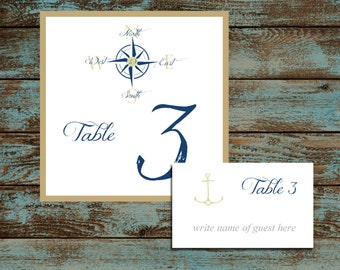 Nautical Compass Anchor 25 Table Numbers and 250 place settings.  Personalized & printed Reception guests table decorations.