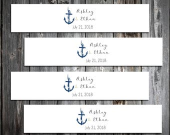 100 Nautical Beach Anchor Wedding Invitation Belly Bands Wraps