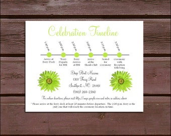 100 Lime Green Daisy Timeline to include with your Wedding Invitations. Includes printing