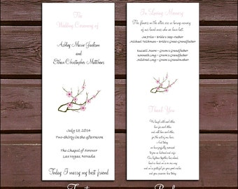 100 Cherry Blossoms Pink Wedding Programs . . .price includes personalization and printing.