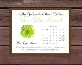 Green Daisy Wedding Save the Date Cards Invitations