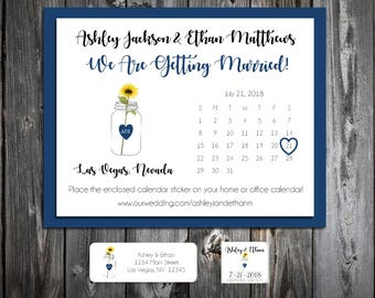 Mason Jar with Sunflower Wedding Save the Date Cards Invitations