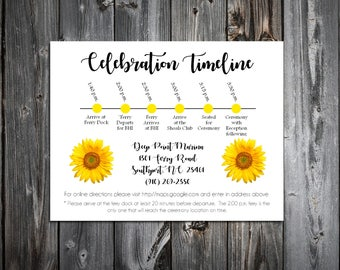 100 Sunflower Timeline to include with your Wedding Invitations. Includes printing