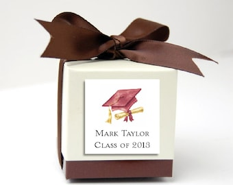 75 Graduation Favor Stickers. 2 inches by 2 inches.  Price includes personalization and printing.