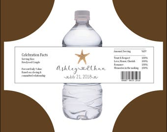 100 Beach starfish water bottle labels - Wedding favors