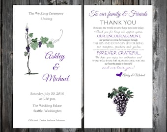 Wine Grapes Rustic Vineyard Wedding Programs 100 Wedding Ceremony Personalized and Printed Programs