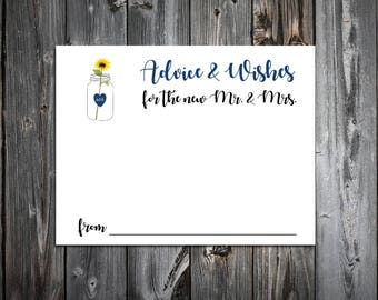 100 Mason Jar with Sunflower Advice and Wishes.  Wedding Favors