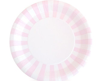 Light Pink Dinner Plates / Pink Paper Plates / Light Pink Striped Party Plates / Pink Striped Paper Plates / Pink Paper Plates  sc 1 st  Etsy Studio : pink and white paper plates - pezcame.com