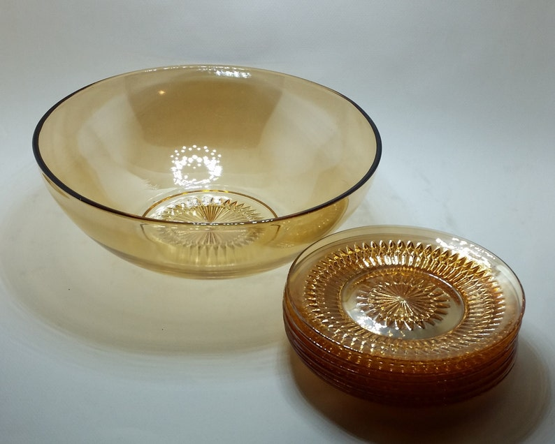 carnival glass. Vintage salad set in Anniversary Marigold by Jeannette Glass