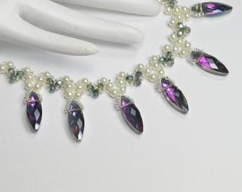 Crystal and Pearl Necklace (With 2 different LOOKS)
