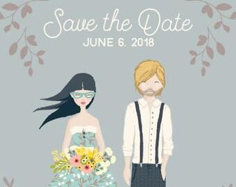 Custom Save the Date, custom portrait, Illustration portrait, Save the Date, Wedding, printable print art digital