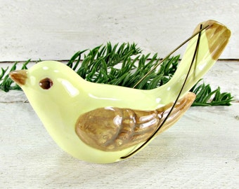Vintage JAPANESE Ceramic Bird Ornament / Figurine, Yellow Brown Pottery Bird, Christmas Tree Ornament, 1950s Holiday Woodland Decoration