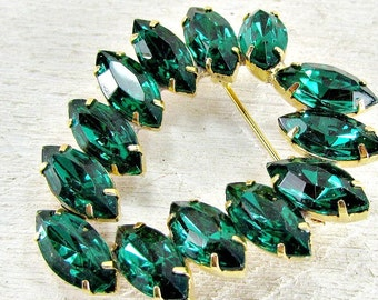 Vintage 1960s Emerald Green Rhinestone Brooch Pin- Navette Rhinestone Crystals- High End Costume Jewelry- Christmas Holiday Gift for Mom