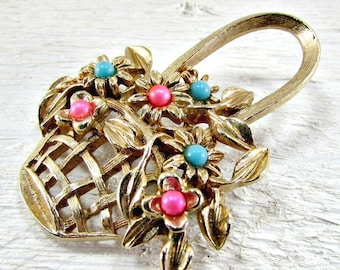 Vintage Flower Basket Brooch, Easter Spring Pin, Gold Floral Bouquet, Pink Blue Beads, 1970s Retro Costume Jewelry, Mothers Day Gift