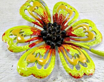 Vintage 1960s 70s Flower Power Brooch Pin- Designer HEDY- Large Colorful Yellow Enamel Metal Daisy- Hippie Fashion Festival Costume Jewelry