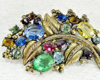 Antique 1930s Art Deco Brooch Pin- Multi Color Fruit Salad Rhinestone Crystals- Gold Leaf- Great Gatsby Flapper Jewelry- Gift for Grandma