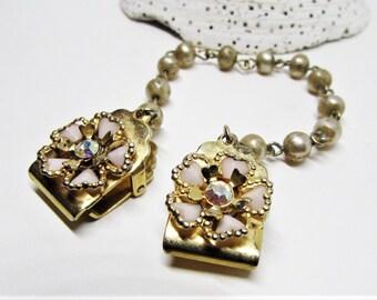 Vintage Gold Sweater Guard Clip, Rhinestone Pink Heart Petal Flower, Shawl Clasp Cardigan Collar Pearl Link Chain, 1950 Rockabilly Jewelry