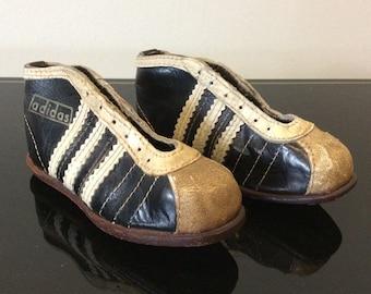WM 1954 MANNSCHAFT Adidas Leder Miniatur Fussball Schuhe mit