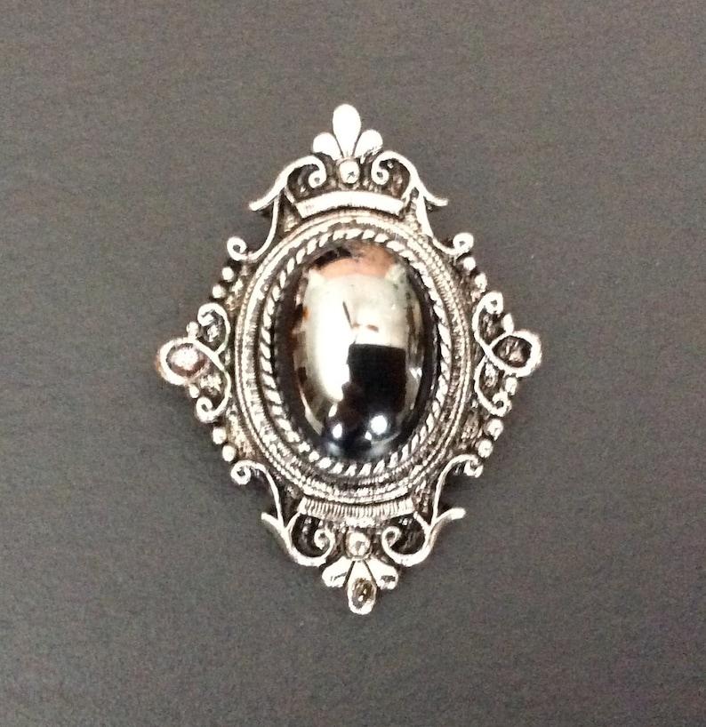 Vintage Sarah Coventry Black Hematite Pendant Pin Brooch