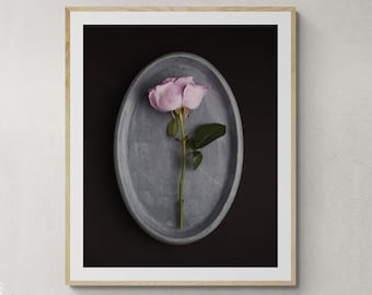 Wall art bedroom, romantic floral print, above bed decor, girls room decor, romantic art print, purple rose art, flower photograph