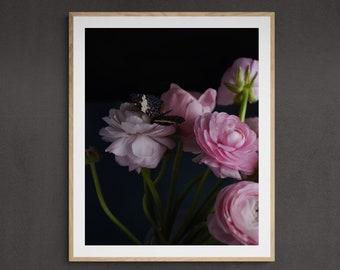 dark floral art, art print bedroom, romantic flower print, botanical wall art, dark home decor, bedroom wall art, art print unframed,