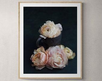 flower photography, romantic wall art, girls room decor, pink flowers, dark floral decor, art for her, bedroom art, romantic floral print