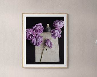 romantic rose print, pretty purple rose, romantic wall art, art print bedroom, floral art print, romantic bedroom art, botanical art,