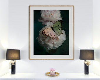butterfly bedroom decor, emerald green decor, peony art print, floral wall art, botanical living room, unframed butterfly art, above bed art
