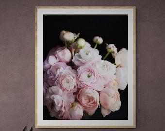 romantic floral print, flower photography, romantic wall art, girls room decor, pink flowers, dark floral decor, art for her, bedroom art