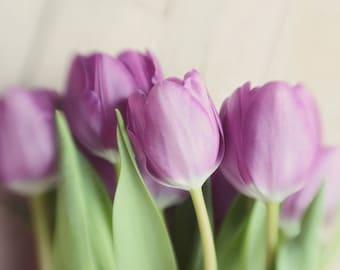tulip art, purple flower art, spring decor, pastel decor, farmhouse decor, country decor, floral nursery print,rustic flower art,beige decor
