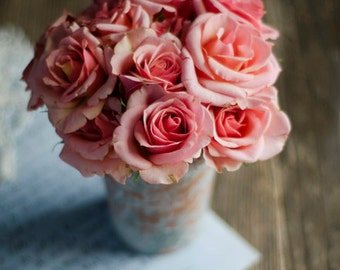 floral nursery art, farmhouse decor, rustic flower art, rose art print, peach flower art, romantic floral print, girls room decor