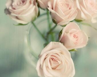 pink flower art, rose art print, pastel decor, floral nursery decor, pink and mint, mint green decor, rustic flower art, romantic floral art
