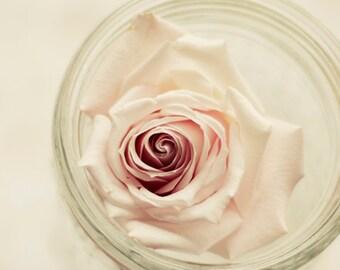 pink flower art, floral nursery art, pastel decor, rose art print, light pink decor, romantic flower art, beige wall decor,girls room decor