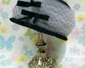Vintage 1960s Pillbox Hat Black And White Straw Tulle Netting And Bows Mid Century Easter Wedding Garden Party Funeral Dressy Medium M