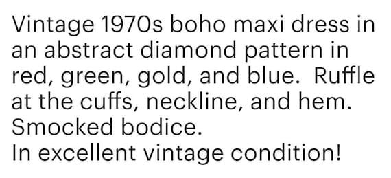 1970s Abstract Pattern Hippie Prairie Maxi Dress … - image 6