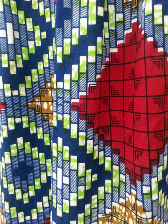 1970s Abstract Pattern Hippie Prairie Maxi Dress … - image 5