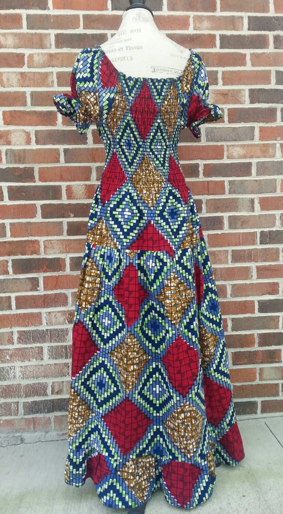 1970s Abstract Pattern Hippie Prairie Maxi Dress … - image 3