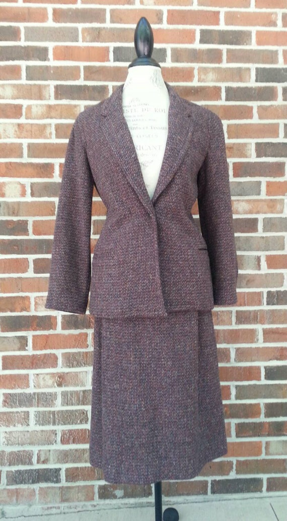 1970s Does 1940s 2 Two Piece Suit Skirt Blazer Jac