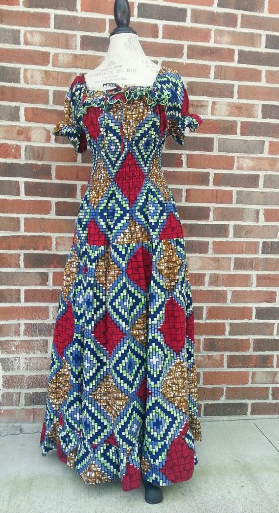 1970s Abstract Pattern Hippie Prairie Maxi Dress … - image 1