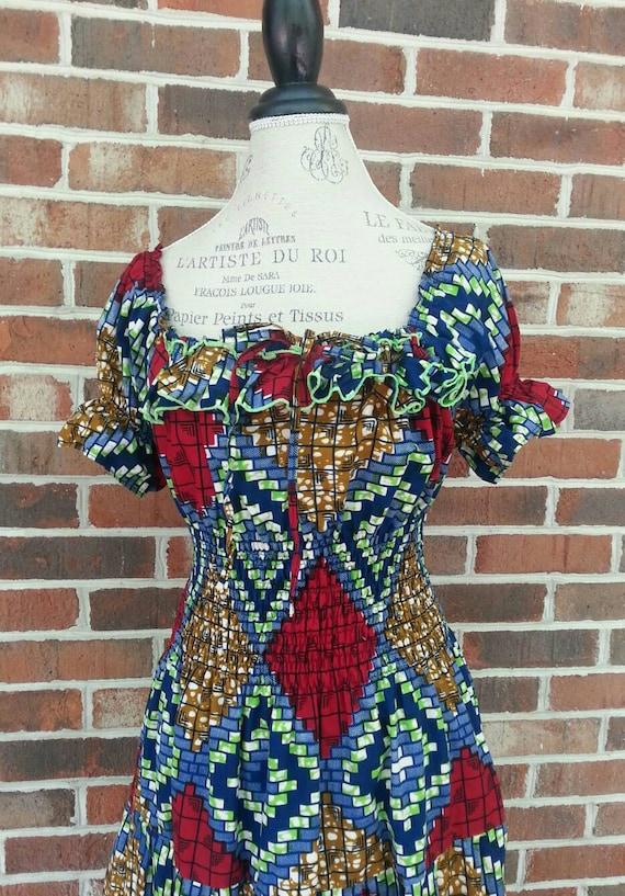 1970s Abstract Pattern Hippie Prairie Maxi Dress … - image 2