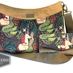 Custom listing for: ARZINA    Daisy Cross Body Bag and matching NCW in custom mermaid print wallet and purse