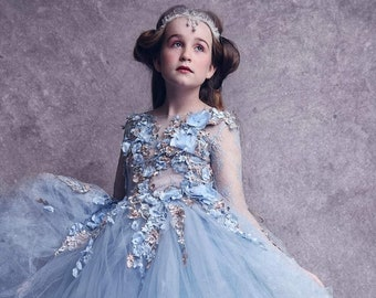 Girls couture gown, blue princess dress